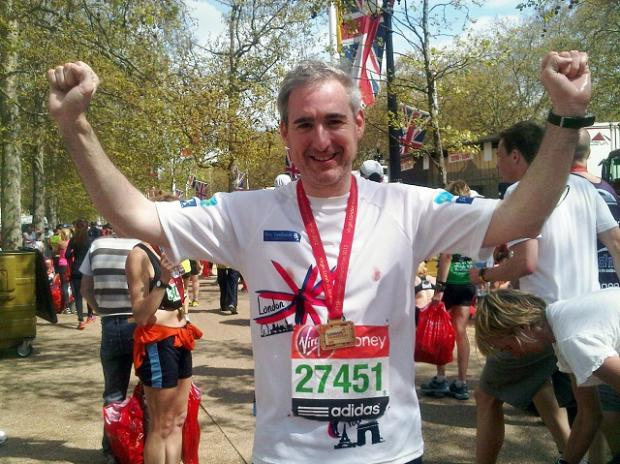 Sporting Greg Mulholland at the finish line of the London Marathon earlier this year