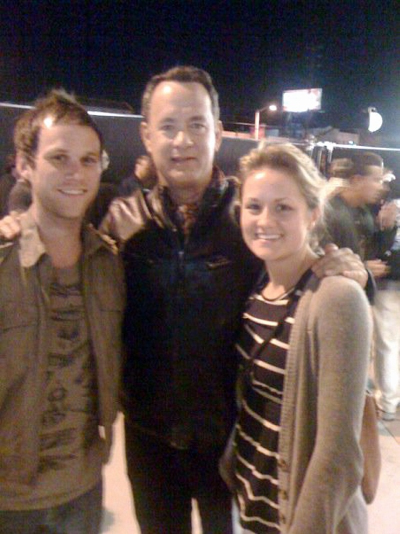 Chris Smith and fiancee Sarah Faubion with actor Tom Hanks