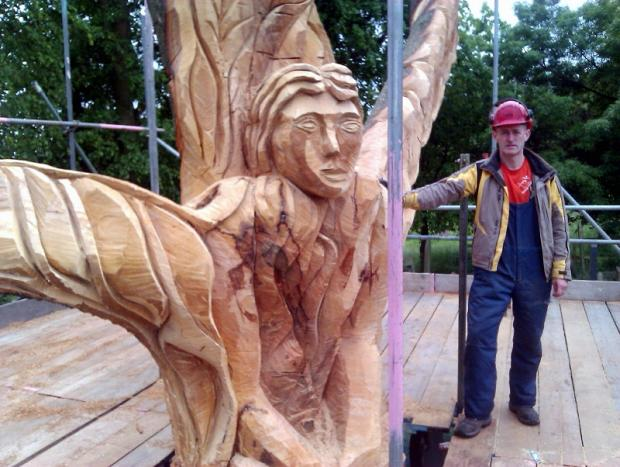 Shane Green stands by one of the impressive sculptures he's designing for a special London 2012 Olympics trail