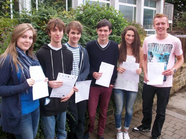 Benton Park School, Rawdon, students celebrating superb A level results. Stand out performances included David Addison's three A*s and an A; Adam Fryer's two A*s and two As; Rebecca Wood's one A* and four As; Mollie Horne one A* and three As