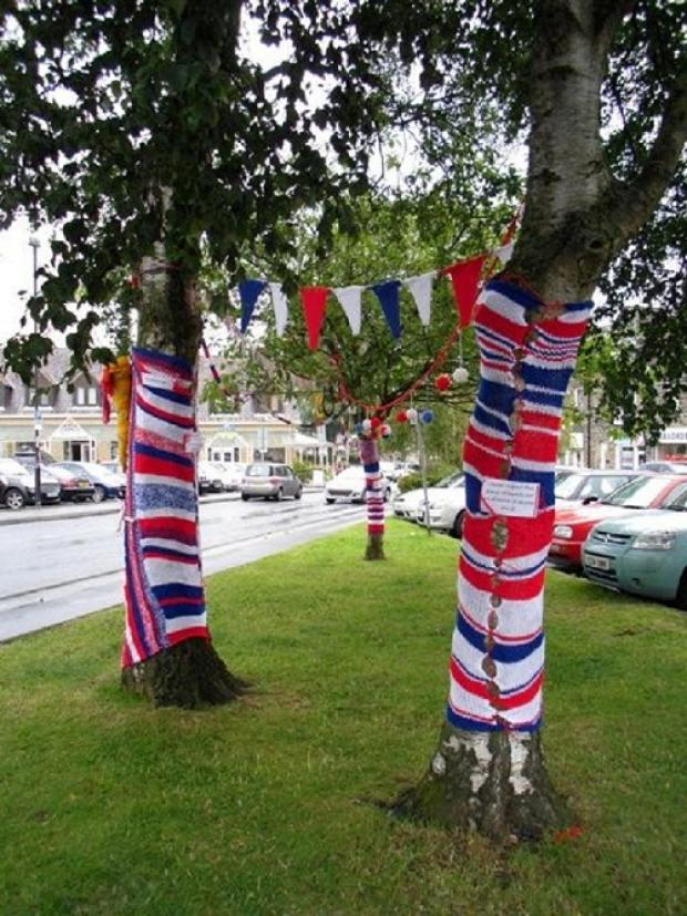 Knitting on trees in Ilkley