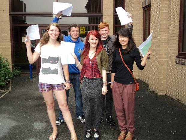 Guiseley School A-level students Chris Matthews and Alex Bibby, Vicky Helbert, Sophie Tran and Star Tong