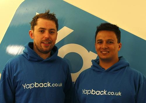 Richard Bennett and Martin Jones promote their Yapback business  venture in Ilkley, where the scheme is being trialled