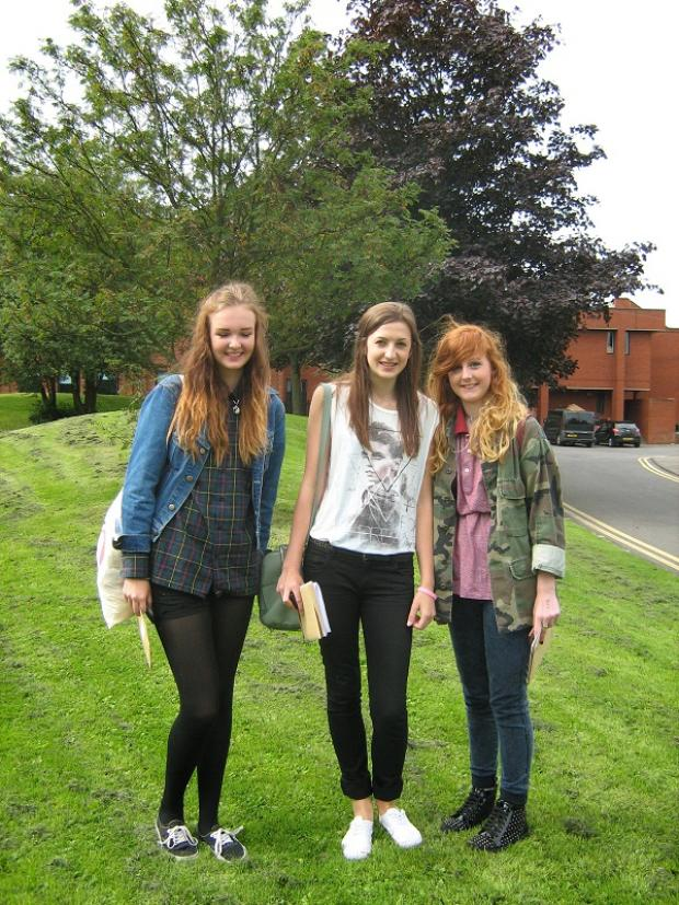 Horsforth students Hannah Simister, Olivia Hutchison and Hannah Ferraby  celebrate their GCSE results