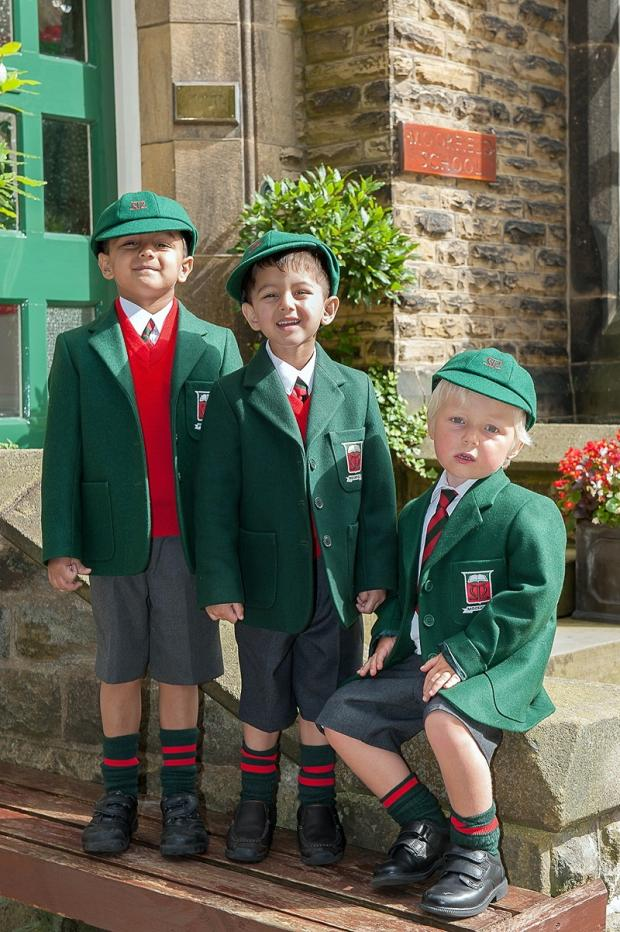 Three boys from Moorfield School, Ilkley, in their new uniforms having moved up from nursery to the main school