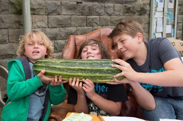 Scott and Robbie Brindle with Ben Thornton size up a big marrow at the 'Guess the Weight' stall