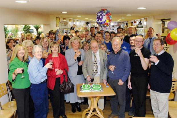 Otley garden centre staff's surprise party to mark Stephen's 80th birthday