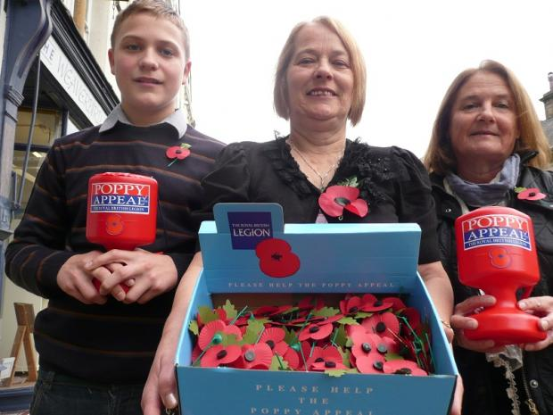 Poppy collectors Keiren Brabiner, 13, and Sheila Bancroft launch the local appeal with Royal British Legion Ilkley branch president, Susan Windle, centre