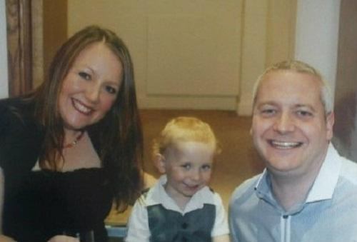 Sarah Lofthouse with partner Darren Bishop and son Marty