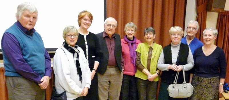 Barry Gill, Tricia Hardie, Frances Guy, David Walker, Denise Ledgerwood, Pauline Sweet, Helen Marshall, Ilkley Art Club chairman Shirley Warrenberg and Barbara Davy at the lecture