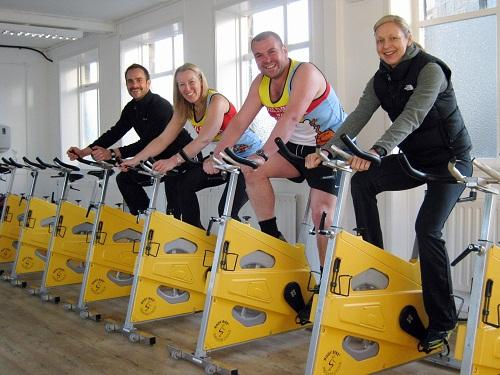 Sarah and Alex Mayrick (centre), with Dillon's Health and Fitness Studio owners Richard Dillon (far left) and Gail Dillon