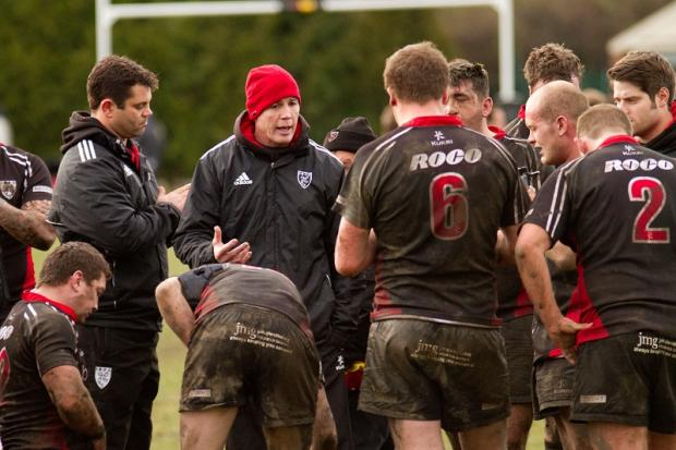 Ilkley head coach Rhys Morgan (red hat) is grateful for the help of Simon Smith, left, and Ollie Renton. Picture: ruggerpix.com