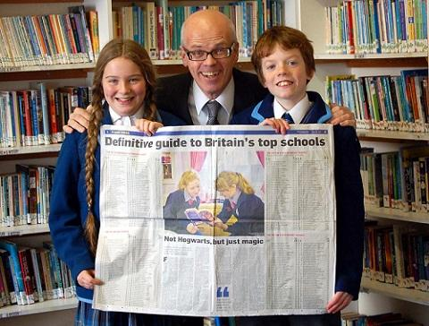 Ilkley Gazette: Charles Holloway, pictured here with two of his Westville House pupils