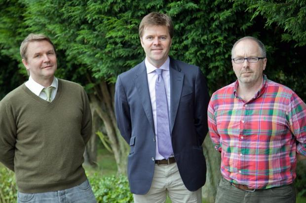 Stephen Iball, left, Dr Simon O'Hara and Martyn Rainford, right, directors of Osmosis Innovations