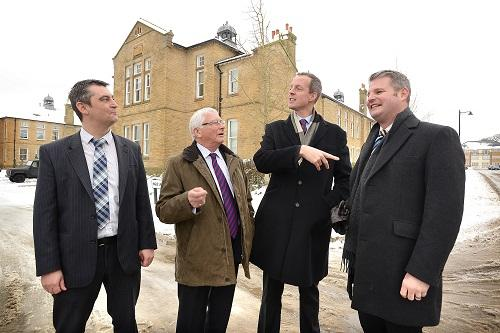 Visiting the former High Royds Hospital site are, from the left, Malcolm White, Councillor Graham Latty, Minister Nick Boles and MP Stuart Andrew