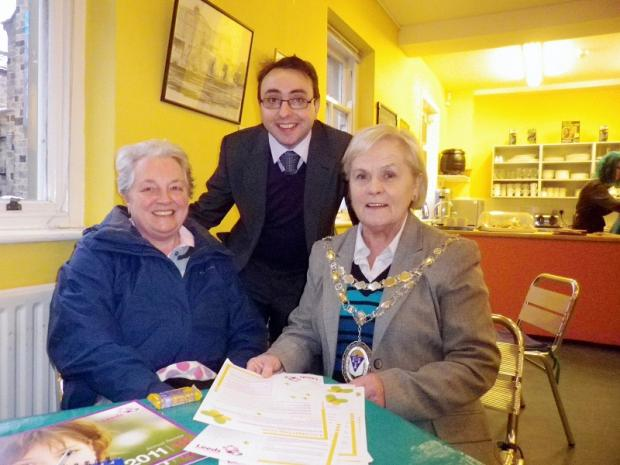 Ruth Blackwell from Grove Hill Bowling Club, Otley Town Council's community development officer Jason Knowles, and Otley town mayor Councillor Mary Vickers at the awareness-raising event about  localgiving.com