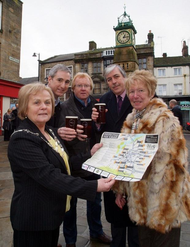 Town Mayor Mary Vickers (left) at the launch of the Ale Trail