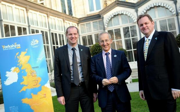 Chief Executive of Welcome to Yorkshire Gary Verity, right, Tour de France director Christian Prudhomme, left, and British ambassador to France Sir Peter Ricketts at the launch of the 2014 Tour de France