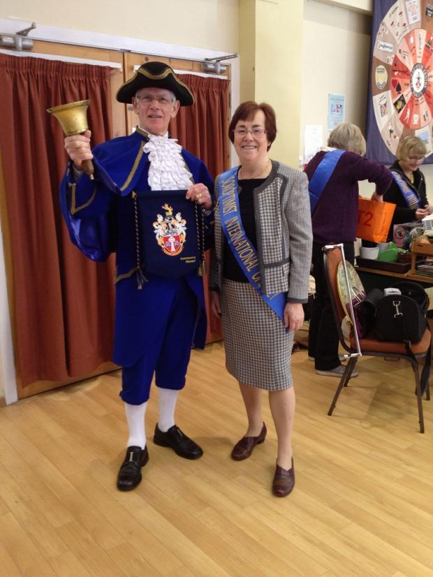 Soroptimist president Jo Thornley with crier Chris Richards