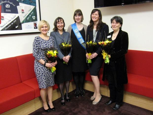 Anne-Mary Inglehearn, of Ilkley Soroptimists, centre, with, from the left, speakers Suzanne Johns, April Chamberlain, Caroline Shaw and Rachel Feldberg