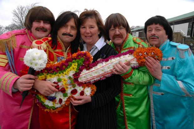 Chairman of the Yorkshire Flower Club, Sandra Harder (above) with members of The Upbeat Beatles