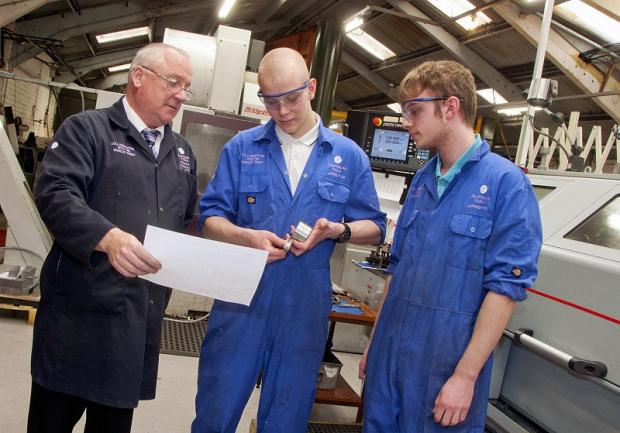 Craftsman Tools' apprentice trainer Graham Newhall, left, with apprentices Ryan Stringwell and Connor Wilsden last year