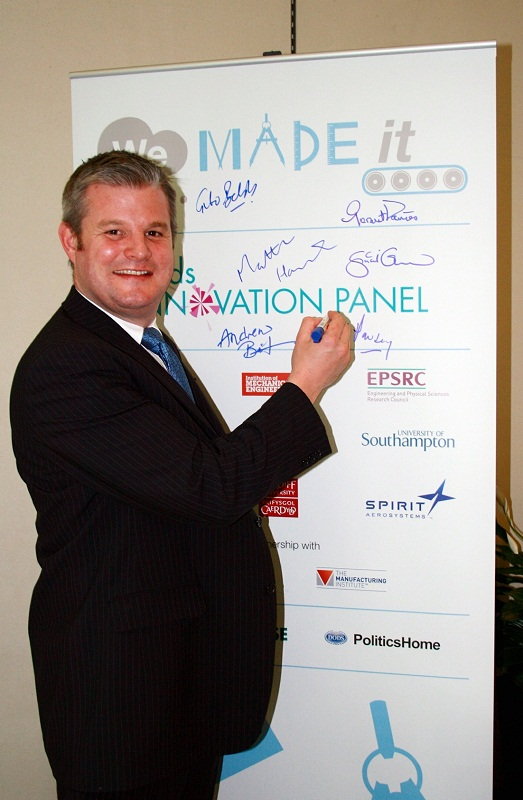 MP Stuart Andrew at the 2013 launch of the manufacturing competition in the House of Commons