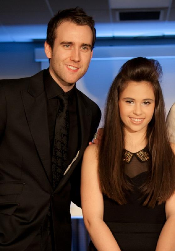 Harry Potter star Matthew Lewis, who played Neville Longbottom in the blockbuster films, with young fundraiser Bethany Hare