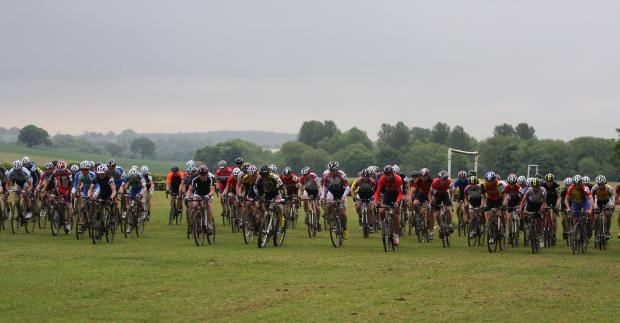 The mass start to the over-14s race at Wharfe Meadows