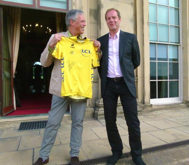 Lord Harewood, left, and Tour de France director Christian Prudhomme launching Yorkshire's Festival of Cycling at Harewood House last August