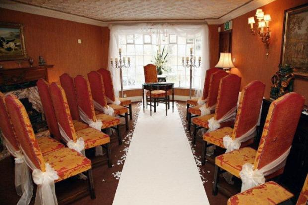 A room in the Box Tree restaurant, one of the oldest buildings in Ilkley, set out for a wedding