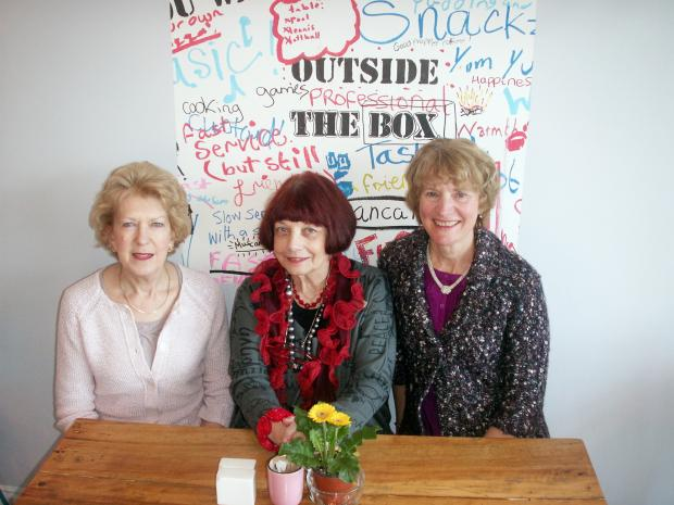 Ilkley Gazette: Thursday Group committee members Rose Mapstone, Annette Ackroyd and Shirley Conyers at the Outside the Box cafe