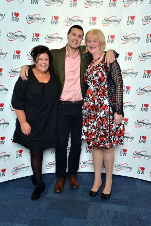 Slimming World consultants Rachael Allott, left, and Dorrie Clarke meet comedian and TV presenter Paddy McGuinness