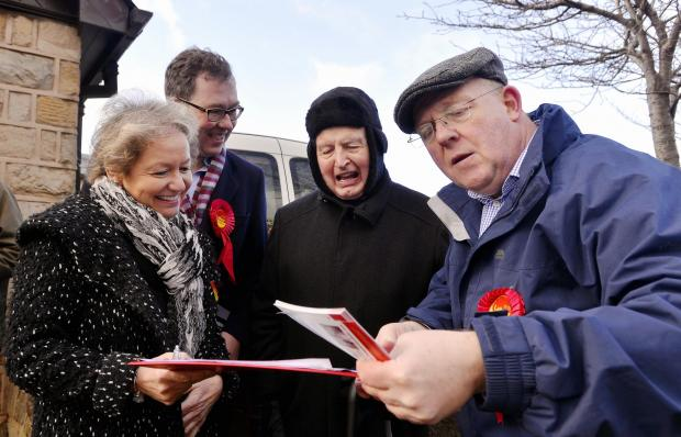 Members from the Labour party campaigning for fixing energy prices in Guiseley, from left, Labour chief whip Rosie Winterton, Jamie Hanley, Wallace Cooper and David Bowe