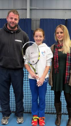 Tennis coach Andy Banks, young tennis star Amber Woofindin and Poppy Red's Jenny Rhodes
