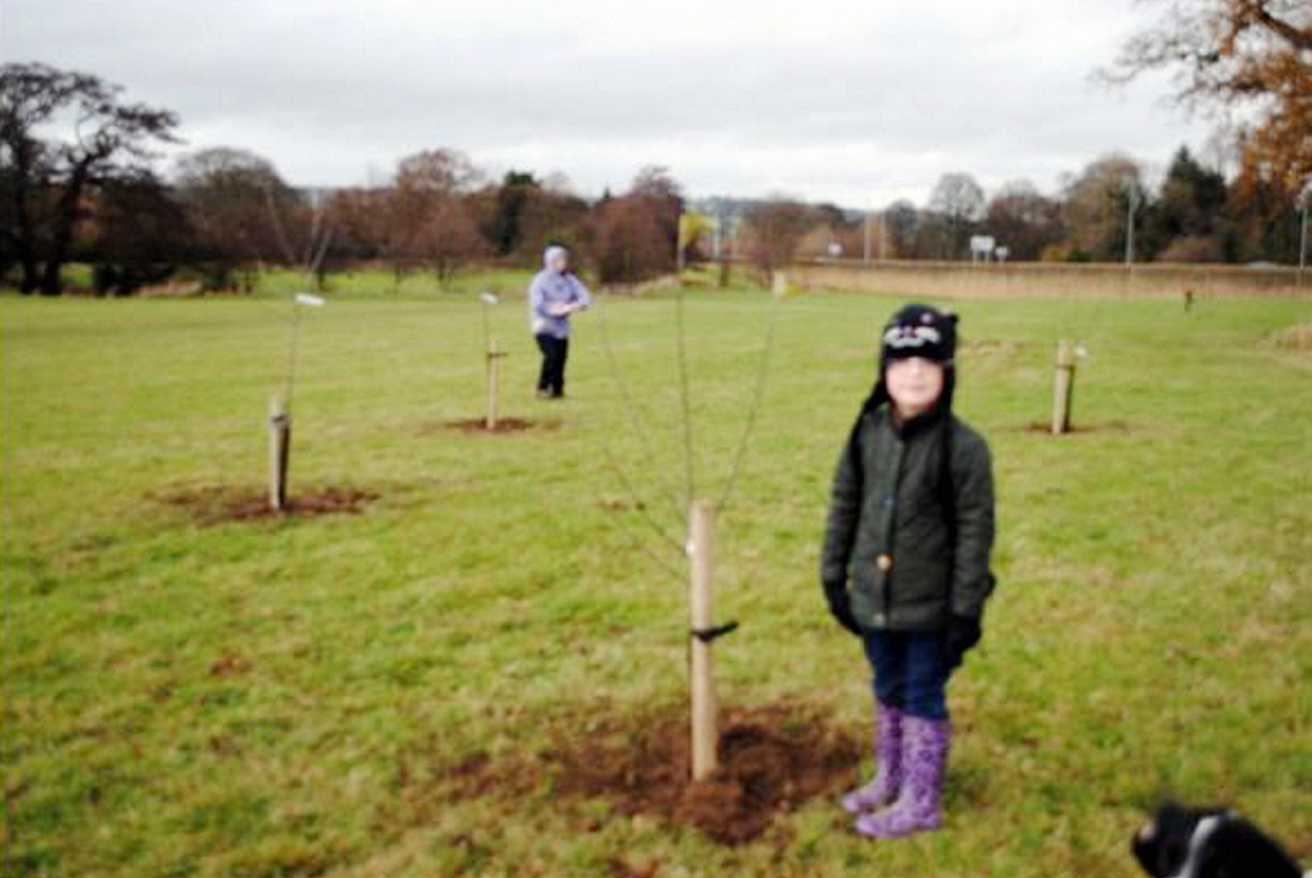 Six-year-old Felicity Brayshaw with a tree she planted