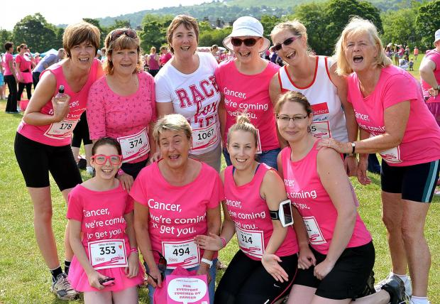 Ilkley Gazette: Staff from All Saints Primary School, Otley, at last year's Ilkley Race for Life