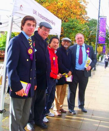 Paul Latham (second from left) and other Ukip campaigners with their temporary gazebo on The Grove, Ilkley