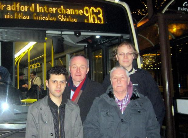 Back row (from left) Ilkley's Labour party parlimentary candidate John Grogan and Otley councillor Carl Morris. Front (from left), Labour  parliamentary candidate for Otley Alex Sobel and petition organiser Sandy MacPherson in front of the last 963 bus