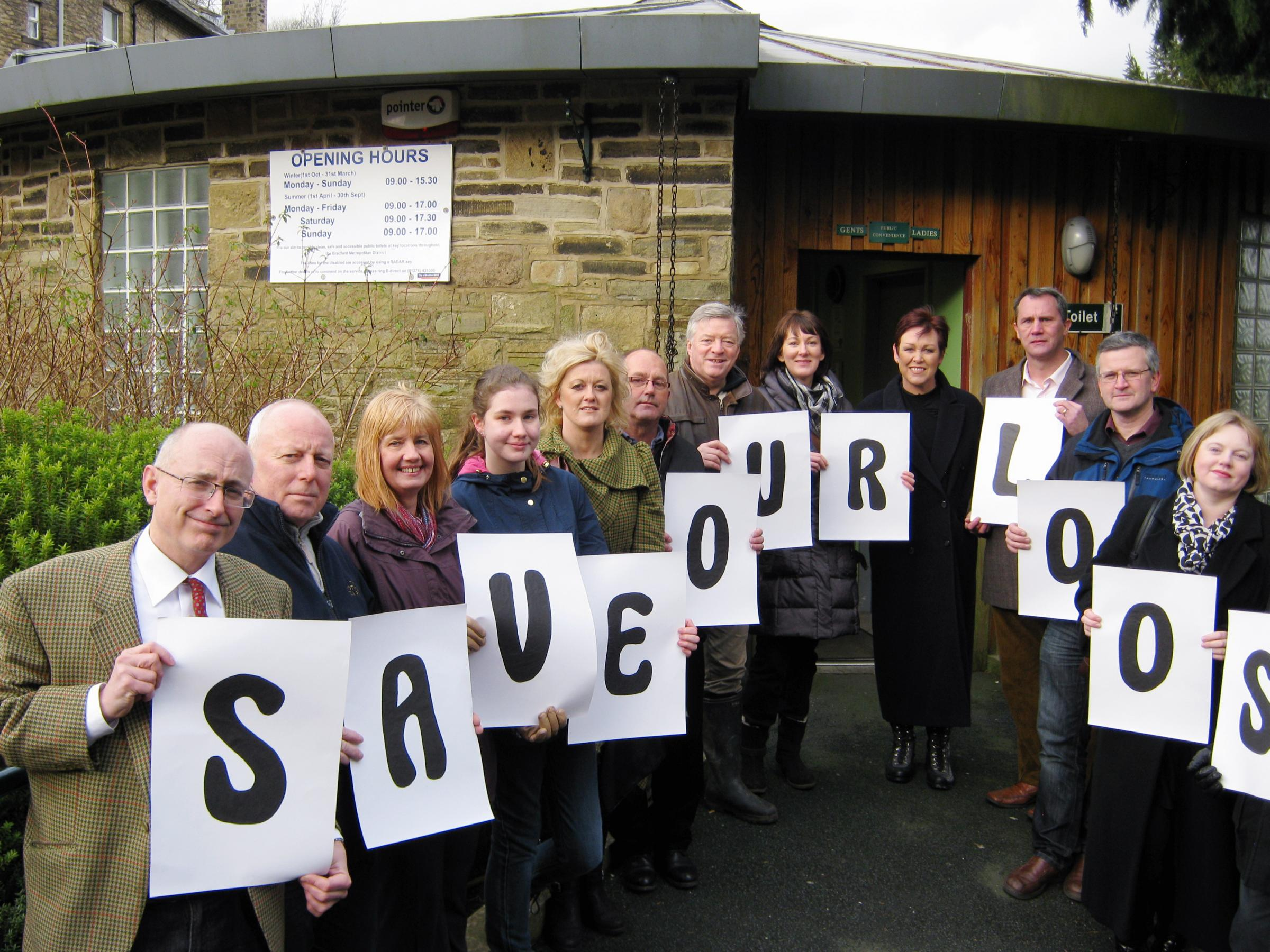 Haworth residents and business leaders during their campaign to save the village's public toilets, which they now look to have now won