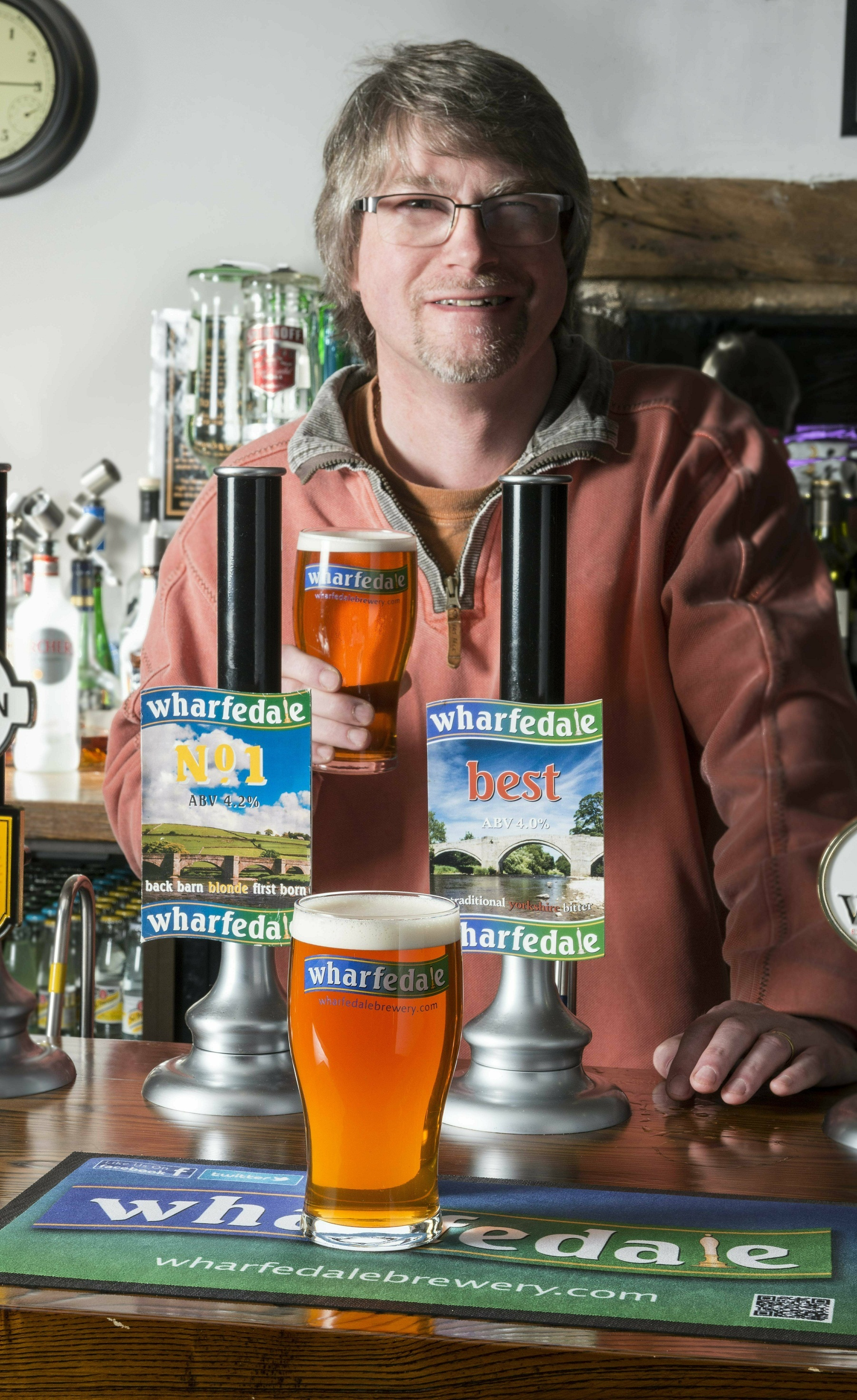 Stewart Ross, of the Flying Duck and Wharfedale Brewery, celebrates the Cask Marque award and success of the beer festival