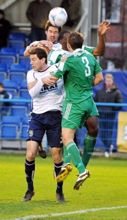 Guiseley defender Danny Hall, top, will miss this weekend's match with a strained hamstring