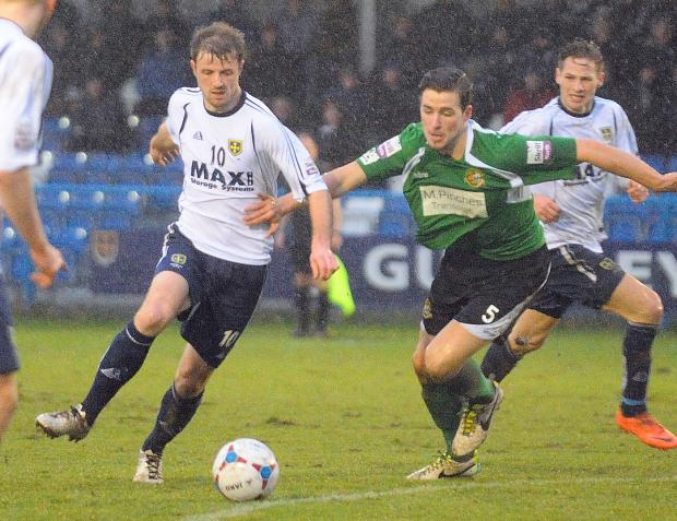 Ilkley Gazette: Adam Boyes making his home debut for Guiseley