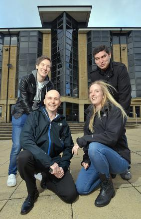 Walking the Three Peaks from Experian in Bradford are (from left) Jeff Fox, Martin Felse, Emily Reader and Ian Bresloff