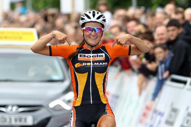 Lizzie Armitstead winning the women's road race at the British National Championships in Glasgow last June. The same course will now be used for this summer's Commonwealth Games