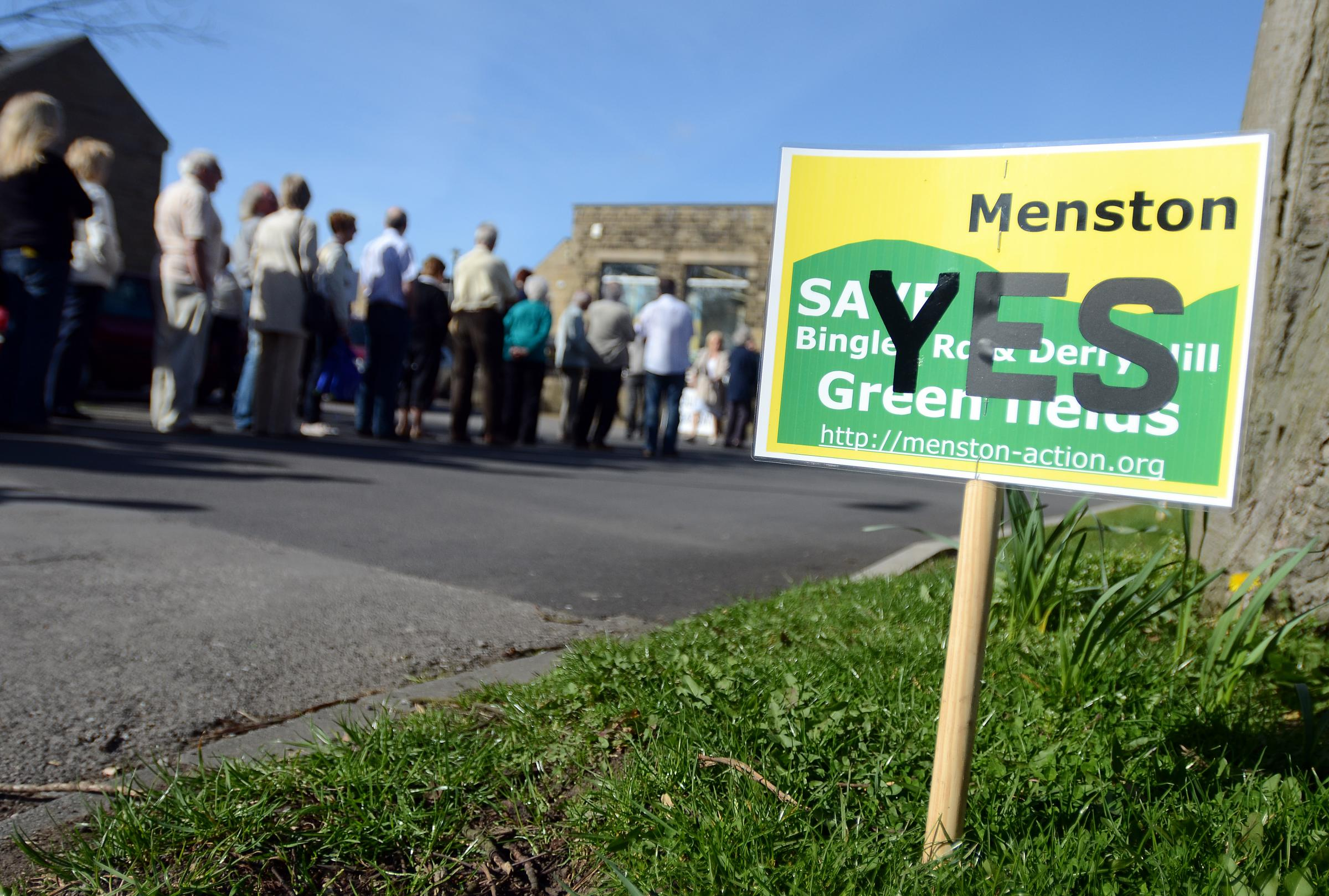 Residents gather outside Kirklands Community Centre in Menston to discuss future development in the village