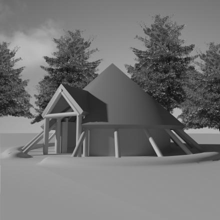 An artist's impression of how the Iron Age-style roundhouse would look in the grounds of Nell Bank outdoor education centre