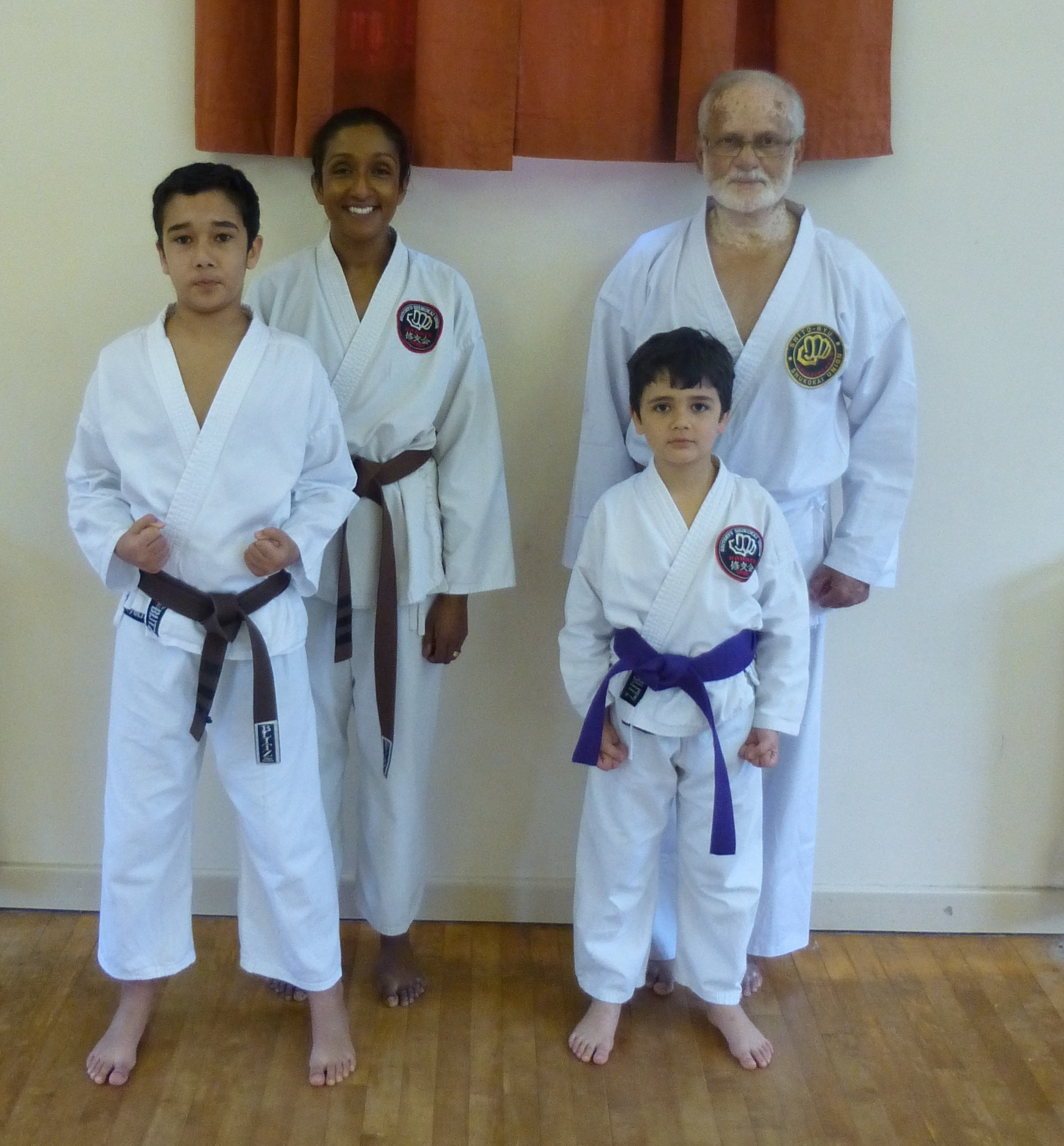 Three generations of karate enthusiasts. At the back is Vani and her father Ravi, with Vani's sons Rahul, left, and Arul