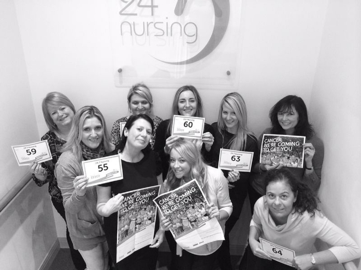 The team from Twenty Four Seven Nursing who are taking part in the  Race for Life for Cancer Research UK this summer