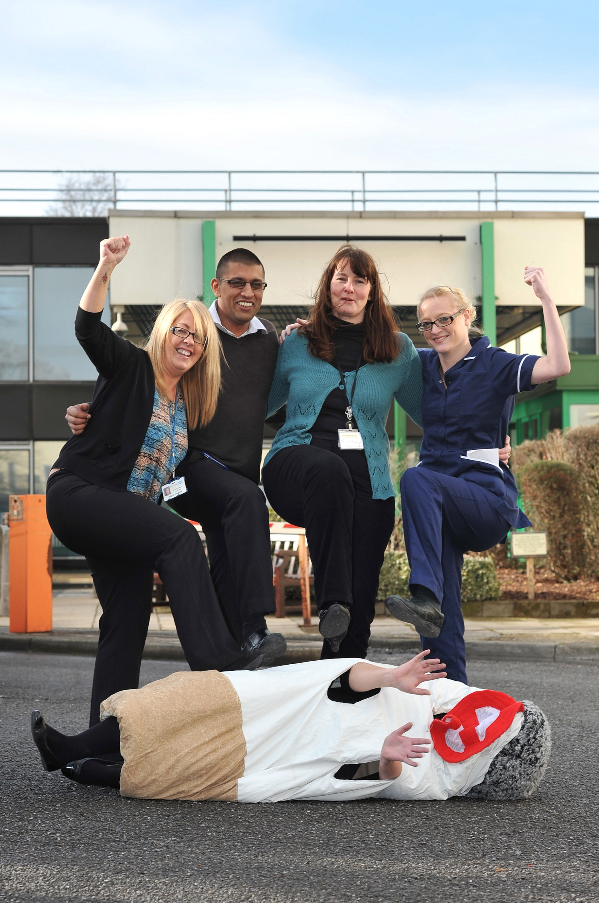 Airedale Hospital staff celebrate their victory over cigarette smoke. From left, Alison Higgins, Shahid Rashid, IT Helpdesk; Amanda Bailey, stop-smoking adviser; and Catherine Bramley